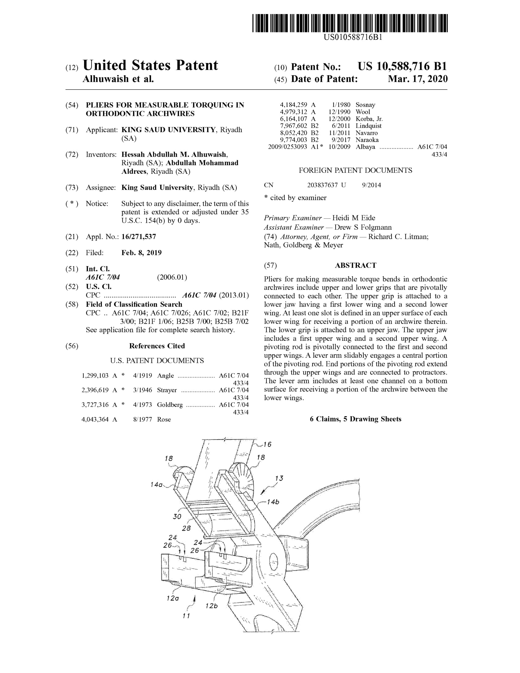 """Pliers for measurable torquing in orthodontic archwires"" Patent for KSU"