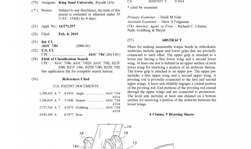 """""""Pliers for measurable torquing in orthodontic archwires"""" Patent for KSU"""